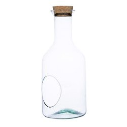Glass bottle vase W-504+side hole+cork  H:35cm D:15cm