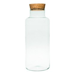 Glass jar vase W-395K+cork H:35cm D:14,5cm