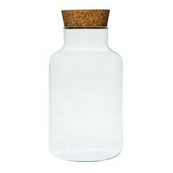 Glass jar vase W-395K1 + cork H:25cm D:14,5cm