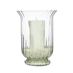 Glass vase Atena optic H:22,5cm D:16,5cm + sand + candle