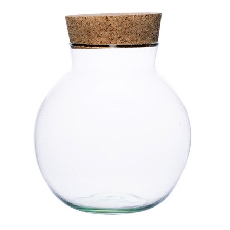 Glass ball vase W-487B+ cork H:24cm D:21cm