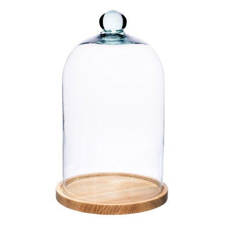 Glass dome with wooden beech stand W-231C+desk H:28cm D:19cm
