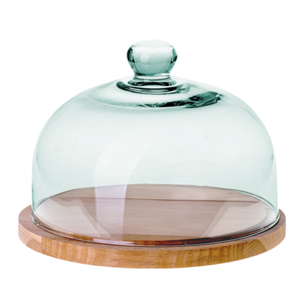 Glass dome W-231G2+wooden base H:16,5cm D:22cm