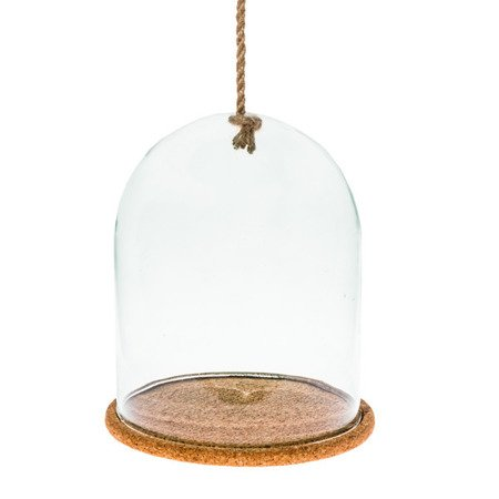 Glass dome+rope+cork base W-315A H:26cm D:21cm
