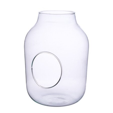 Glass jar vase W-456+side hole H:27cm D:19cm