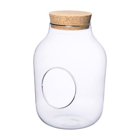 Glass jar vase W-456+side hole+cork H:27cm D:19cm