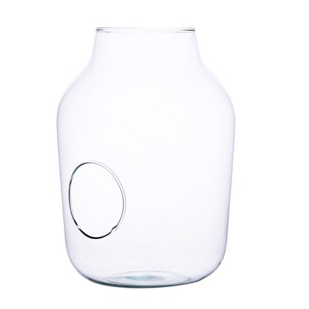 Glass jar vase W-456B+side holeH:33cm D:23cm