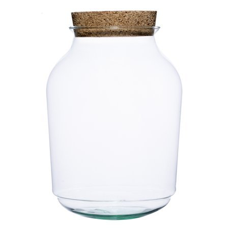 Glass jar vase W-474A+cork H:32,5cm D:23cm