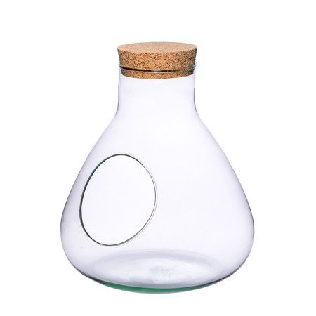 Glass vase W-378+side hole+cork H:24,5cm D:22,5cm