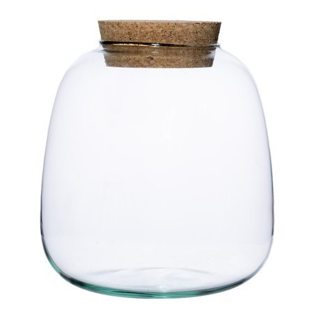 Glass vase W-557+cork H:20cm D:19cm