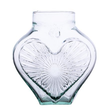Glass vase grave candle heart small H:20cm D:9,5cm