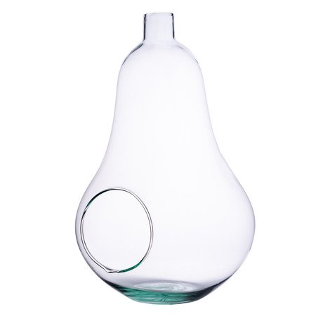Glass vase pear+side hole H:35cm