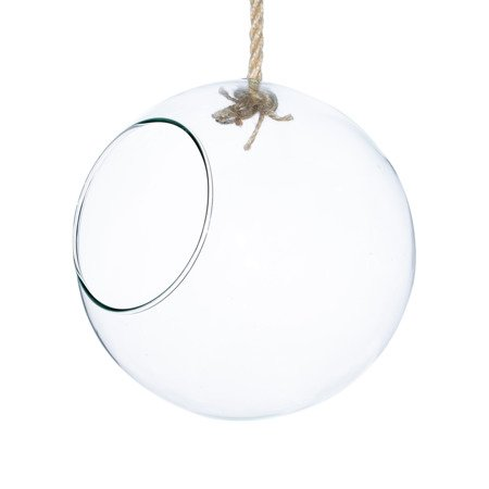 Hanging glass bowl with rope D:29cm