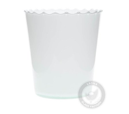 White glass flowerpot DS-1A optic straight H:15cm