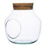Glass jar vase W-456A+side hole+cork H:19cm D:19cm